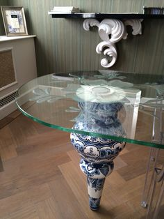 Glass table with delfs blue Glass Table, Vase, Home Decor, Glass Table Top, Decoration Home, Room Decor, Vases, Home Interior Design, Home Decoration