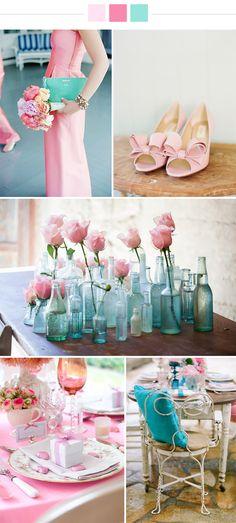 Soft pink & Turqoise wedding ideas | via Originální Svatba