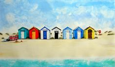 Lynette Amelie Sea Side Art - Ed's huts Beach Watercolor, Watercolor Cards, Watercolor Print, Boat Illustration, Watercolor Illustration, Beach Huts Art, Watercolor Paintings For Beginners, Watercolour Paintings, Seaside Art