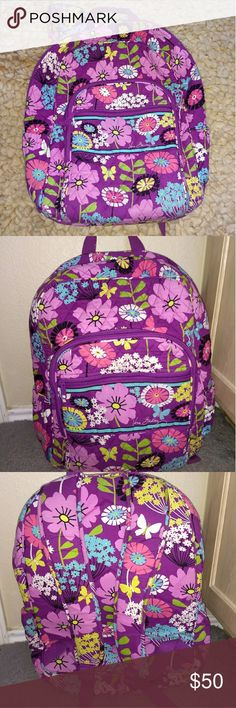 Vera Bradley retired style Backpack Great used condition. Used only once on a trip. It's very roomy & has a headphone jack connection on top of the bag. Vera Bradley Bags Backpacks