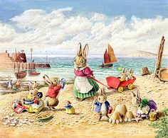 Seaside Fun with rabbits on the beach