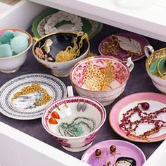 Nice idea for trinket storage and repurposing cups and saucers  traditional  Fataherbergi must