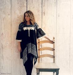 Black Boho Dress Hippie Clothes Lace Trim Cowl Neck Bell Sleeves Lagenlook Dress Upcycled Clothing Eco Fashion Shabby Gypsy Medium 'BROOKE'