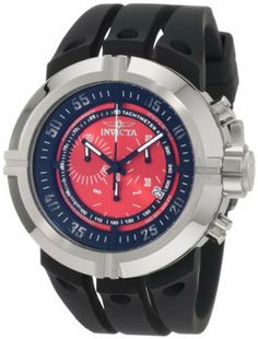 Invicta Men's 0842 Force Chronograph Red Dial Black Polyurethane Watch Invicta. $119.99. Water-resistant to 100 M (330 feet). Mineral Crystal; Brushed and Polished Stainless Steel Case; Black Polyurethane Strap. Swiss Quartz Movement. Chronograph Functions with 60 Second, 30 Minute and 1/10th of a Second Subdials; Date Function. Red Dial with Black and White Hands and Cut Out Arabic Numerals at 5 Second Intervals; Luminous; Black Ring Tachymeter Scale On Dial. Save 87% Off!