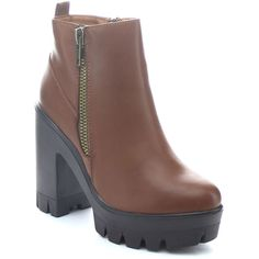 Bamboo Jonas-4 Women Side Zip Platform Lug Sole Ankle Boots ($6.99) ❤ liked on Polyvore featuring shoes, boots, ankle booties, brown, faux leather boots, brown leather ankle booties, leather boots, short boots and leather booties