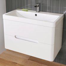 800mm Tuscany Gloss White Double Drawer Basin Unit - Wall Hung