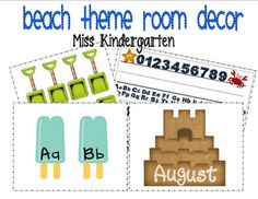 Beach theme room decor. I love the beach and want to decorate a classroom like this!   Miss Kindergarten: June 2011