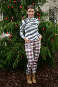 SIMPLE FOUND TREASURES: Plaid and Stripes, Old Navy Turtleneck, Old Navy Pants, Old Navy Booties