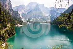 Landscape of the alpine lake of Braies in dolomiti