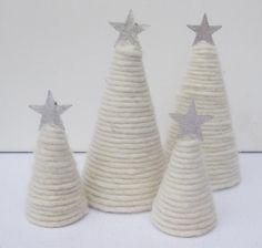 Tannenbaum - Tannenbäumchen - adventliche Tischdekoration - Filzkordel - Sternchen - Filz - Weihnachstdekoration - 15 cm