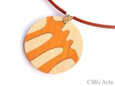 OOAK Wood Inlay Pendant  Marquetry  Jewelry Design  by CMGArte, €29.00