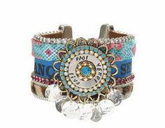 Bonfim ruban Bracelet manchette Avec des cheveux de léopard sur peau cuir