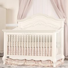 Once upon a time, there was a whimsical fairytale nursery collection that was inspired and designed by Evolur. The Evolur Aurora 5-in-1 Convertible Crib incorporates the soft, feminine carving, detailed spindles, Queen Anne style feet and intricate ribbon bow scroll work which creates a room, as if taken straight from the pages of a fairytale. The Aurora Crib pairs perfectly with enchantingly graceful matching Armoire, Double Dresser and Nightstand. Matching collection of Armoire, Double…