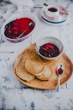 Vanilla Poached Plums With Pancakes   Playful Cooking