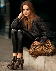 MICHAEL Michael Kors  Exclusive Crewneck Sweater, Leslie Calf-Hair Bootie & Skorpios Calf Hair Ring Tote.