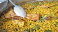 Paella de costillas y berenjena. Restaurante El Tresmall (Dènia). 365 arroces en carta