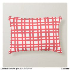 Coral and white grid accent pillow Pink Cushions, White Pillows, Soft Pillows, Accent Pillows, Throw Pillows, Red Decorative Pillows, Trellis, Bright Pink, Soft Fabrics
