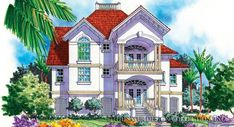 """The entire second floor of the """"Tierra di Mare"""" houses the master suite, a home plan available in the Sater Design Collection l Luxury House Plans Mediterranean House Plans, Mediterranean Design, Elevation Plan, Front Elevation, Custom Home Plans, Custom Homes, Villa Plan, Cottage Style House Plans, Luxury House Plans"""