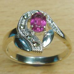 Oval Cut Genuine Pink Ruby Marcasite 925 Sterling Silver Solitaire Ring