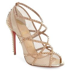 Christian Louboutin 'Alarc' Sandal (5.380 RON) ❤ liked on Polyvore featuring shoes, sandals, red ankle strap sandals, ankle wrap sandals, spiked sandals, red sandals and red ankle strap shoes