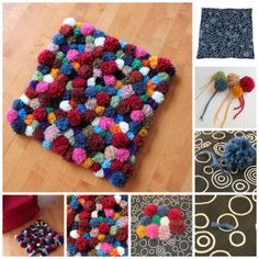 """Love this pom pom rug from 'Pippa Patchwork'! It looks so cute and cozy, you just want to cuddle your toes into it. She admits it's time consuming, so it's probably a great """"sewing bag"""" project that you pull out every night in front of the tv Pom Pom Mat, Diy Pom Pom Rug, Pom Pom Crafts, Pom Poms, Crafts To Do, Yarn Crafts, Diy Crafts, Dorm Room Crafts, Do It Yourself Baby"""