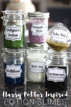 Harry Potter potion slime making activity for kids science and Harry Potter themed party activity.
