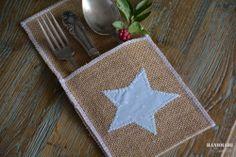 #Funda cubiertos de tela de saco con #estrella de algodón