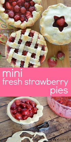 So fun and super yummy, this recipe for mini strawberry pies made with fresh strawberries is the perfect way to bake up those berries from the garden and a delicious summer recipe that kids will enjoy helping you with! Fresh Strawberry Pie, Strawberry Dessert Recipes, Best Dessert Recipes, Fruit Recipes, Fun Desserts, Delicious Desserts, Snack Recipes, Snacks, Fruit Dishes