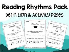 INCLUDES 8 PAGES! Use for introducing new rhythms, or practicing known rhythms!1. Quarter Note2. Quarter Rest3. Half Note4. Half Rest5. Whole Rest6. Whole Note7. Sixteenth Notes8. Eighth Notes