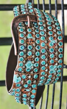 Kippy's 1.5 Turquoise Crystal and Studded Brown Belt with Cowboy Buckle www.gugonline.com $299.95