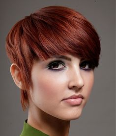 A short red straight coloured Womens hairstyle by Natural Hair