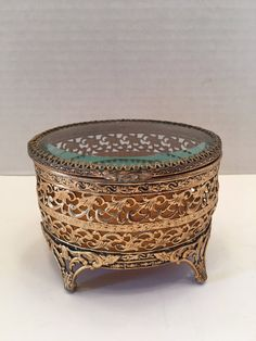 $44.00  Vintage Ormolu Jewelry Casket Filigree Design Hinged Glass Top~Jewelry Box ~ Jewelry Holder~ Shabby Chic~ Hollywood Glam