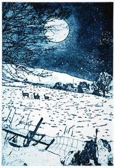 """""""Full Moon, Christmas Morning"""" by Suzie McKenzie (collagraph)"""