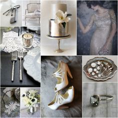 OK, so I'm not one to post wedding stuff here but everything about these photos is so gorgeous I couldn't resist, WANT to wear dress and shoes and eat cake off of platter while sitting on settee - winter shimmer board by Postcards & Pretties + Branco Prata
