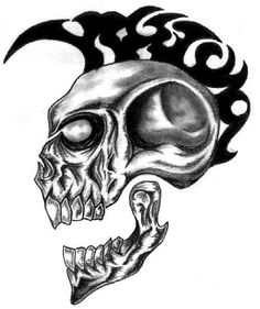 Skull with mohawk