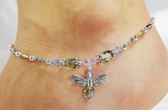 Anklet Ankle Bracelet Dragonfly Wings by ABeadApartJewelry on Etsy, $15.00