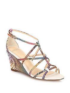 Alexandre Birman Rainbow Python Demi-wedge Sandals In White Alexandre Birman, Designer Sandals, Wedge Sandals, Shoes Sandals, Python, Open Toe, Ankle Strap, Wedges, Purses