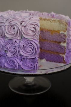 This purple ombre cake is covered in roses!  So purty!