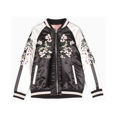 Reversible bomber jacket with embroidery detail ❤ liked on Polyvore featuring outerwear, jackets, bomber, coats, flight bomber jacket, bomber style jacket, embroidered jacket, flight jackets and embroidery jackets