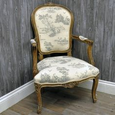 Louis Armchair in Grey Tapestry Upholstery – Allissias Attic & Vintage French Style