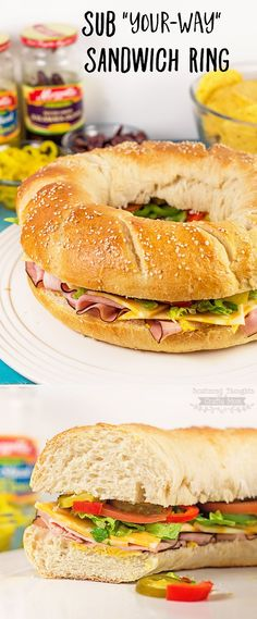 "Spicy, mild, greek inspired- this DIY Sub ""your-way"" Sandwich Ring is fabulous any way you like it. (Plus the ring sub sandwich presentation is always a crowd pleaser!) Perfect for game day or any other get together."