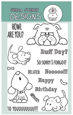 Howl are you? Puppy Clearstamp Set - Clearstamps - Papercrafts - Gerda Steiner Designs $14.95
