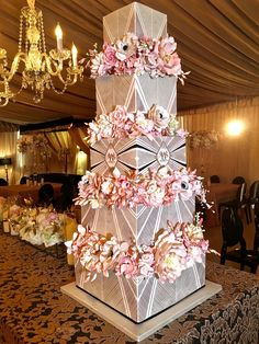 Wedding cakes elegant one of a kind stenciling #floralweddingcakes