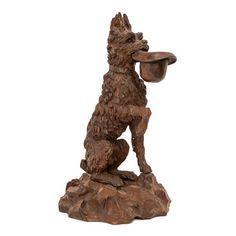 Antique Black Forest Carved Dog with Hat