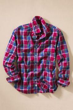 Canvas Men's Plaid Poplin Shirt from Lands' End USD 14.97