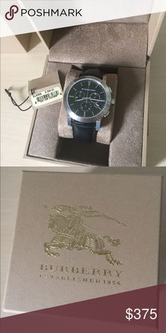 Burberry men's watch Men's Burberry watch with black leather wrist band, nwt. Comes with brand box. Reasonable offers welcome. Burberry Accessories Watches