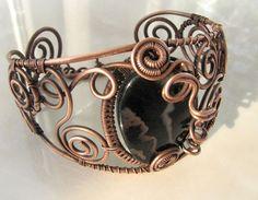 Copper bracelet with black agate Wire wrapped Boho Jewelry Big