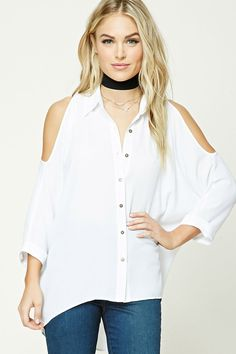 Forever 21 Contemporary - A semi-sheer woven shirt featuring an open-shoulder design, a buttoned front, basic collar, 3/4  cuff sleeves, a back slit, a vented high-low hem, and a billowy silhouette.