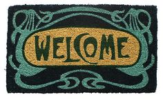"One Kings Lane - Come on In - 1'6""x2'6"" Deco Mat, Deep Blue/Teal/Green"