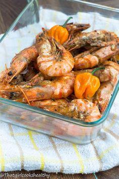 Jamaican hot pepper shrimp - That Girl Cooks Healthy - Seafood Recipes Jamaican Cuisine, Jamaican Dishes, Jamaican Recipes, Jamaican Oxtail, Haitian Recipes, Healthy Cooking, Cooking Recipes, Healthy Recipes, Gastronomia